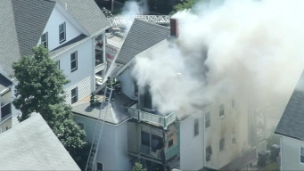 AERIAL FOOTAGE: Firefighters Battle 2-Alarm Blaze in Everett