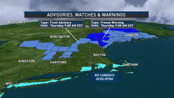 Frost Advisories and Freeze Warnings Issued for Parts of New England