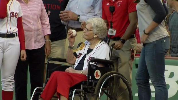 [NECN] 100-Year-Old Woman Throws First Pitch at Red Sox Game