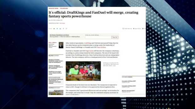 [NECN] Boston Business Journal Report: Daily Fantasy Sites Merging