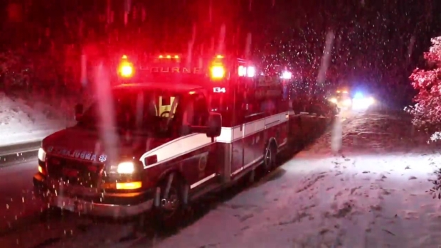 [NECN] Minor Injuries Reported After Car vs. Snow Plow Crash