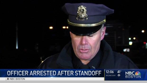 [NECN] Officer Arrested After Standoff