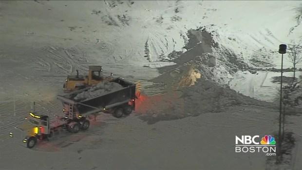 [NECN] Crews Work to Remove Snow Piles in Somerville, Mass.