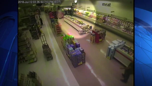 [NECN]RAW VIDEO: Man Falls Through Ceiling Twice in Supermarket