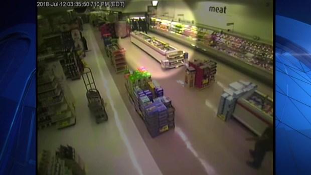 [NECN]RAW VIDEO: Man Falls Through Ceiling Twice in Supermarket