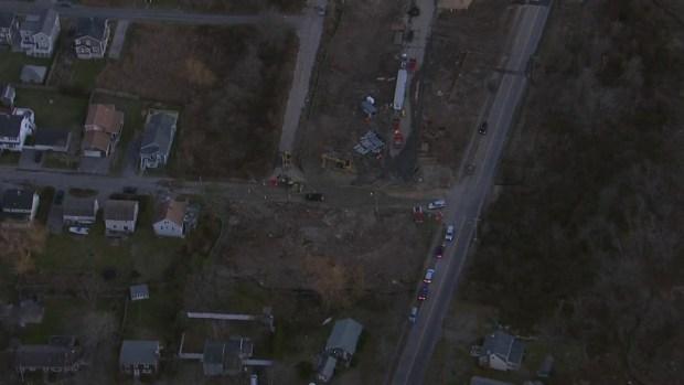 [NECN] NBC10 Boston Sky Ranger Over Scituate Construction Accident