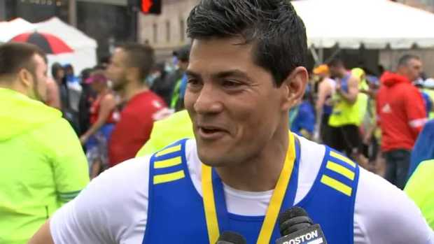 Tedy Bruschi Talks After His 3rd Boston Marathon