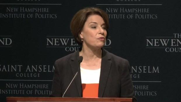 [NECN] Amy Klobuchar Speaks at Politics Eggs in NH