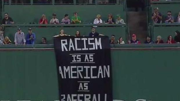 Controversial Sign on Display at Fenway Park