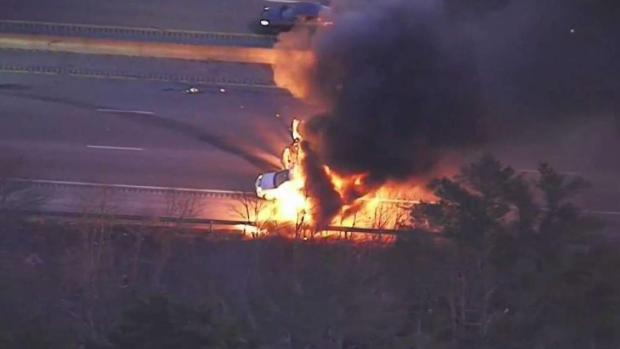 [NECN] Driver Rescued From Fiery Crash in West Bridgewater