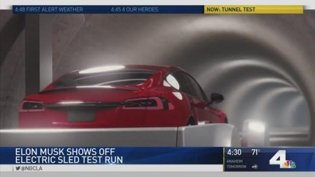 [NATL-LA] Elon Musk Reveals Test Run of Electric Sled