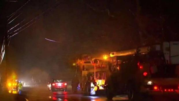 [NECN] Utility Crews Race to Get Power Back on in Easton