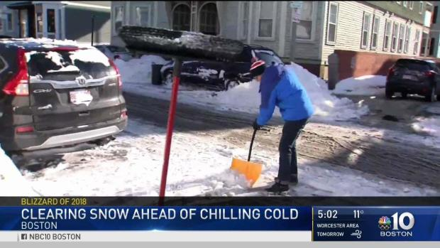 [NECN] Shoveling, Space Savers in Full Force After Storm