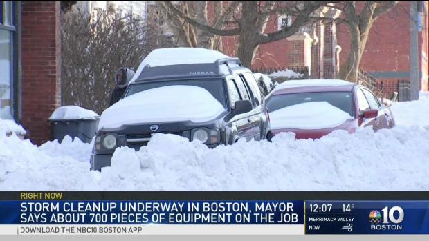 [NECN] Storm Cleanup Underway in Boston