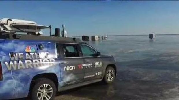 Weather Warrior Drives on Frozen Lake Winnebago