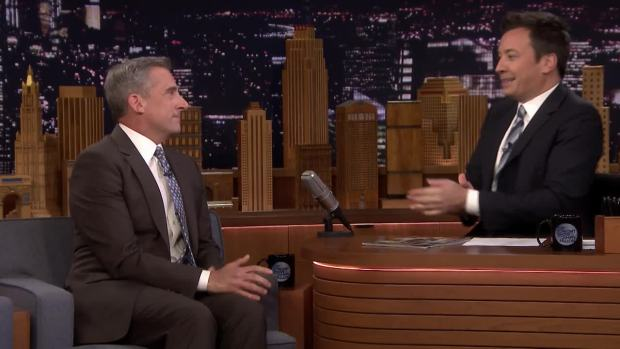 [NATL] 'Tonight': Steve Carell Was Nervous Meeting Kelly Clarkson