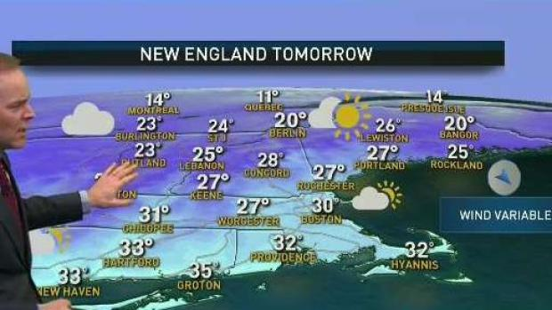 [NECN] Temperatures Cool Sunday Night, Chilly and Sunny Monday