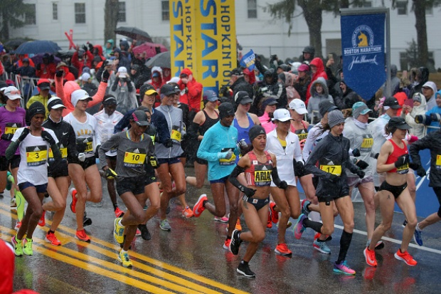 Athletes Take Part in Rainy Boston Marathon