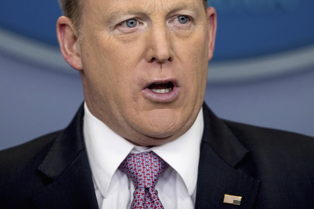 [NATL] Spicer Wears Upside-Down American Flag Pin During WH Briefing