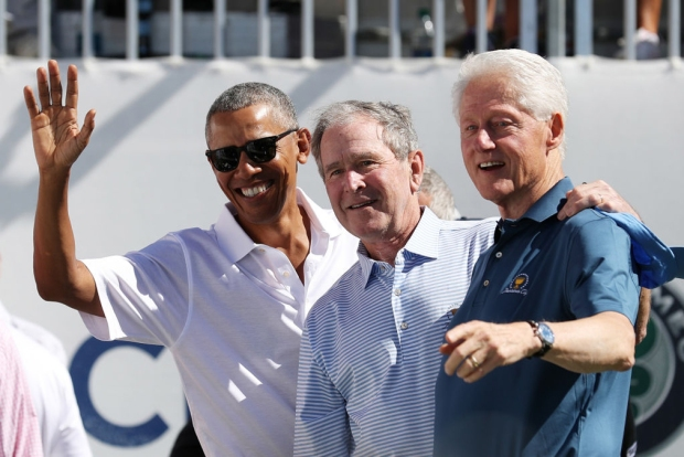 [NATL-NY]Obama, Bush, Clinton Attend Presidents Cup in Jersey City