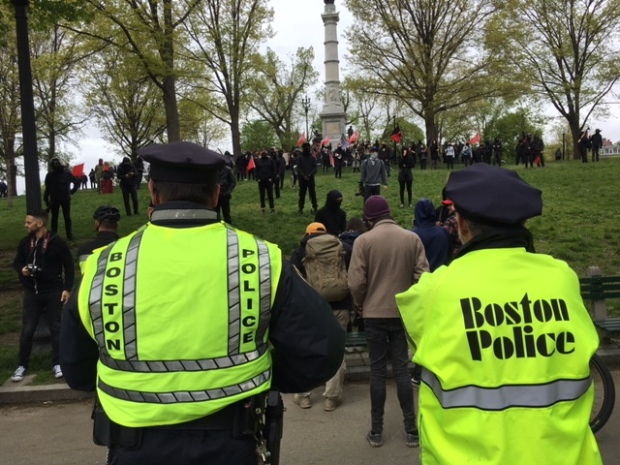 Antifa and Boston Free Speech Supporters Separated in Boston Common