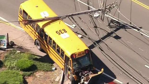 [NECN] School Bus Crashes Into Utility Pole, Brings Down Power Lines