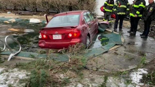 [NECN] Car Crashes Through Melrose Home, Lands in Pool