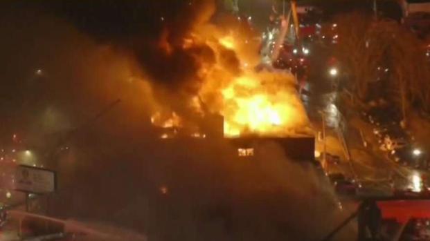 [NECN] Heavy Flames Knocked Down in Massive East Boston Fire