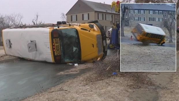 [NATL] School Bus Flips on Icy Kansas City Road