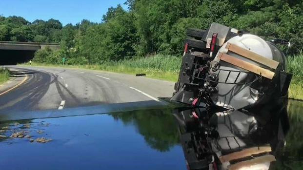 Liquid Asphalt Truck Rollover Closes Route 128 Ramp in Peabody