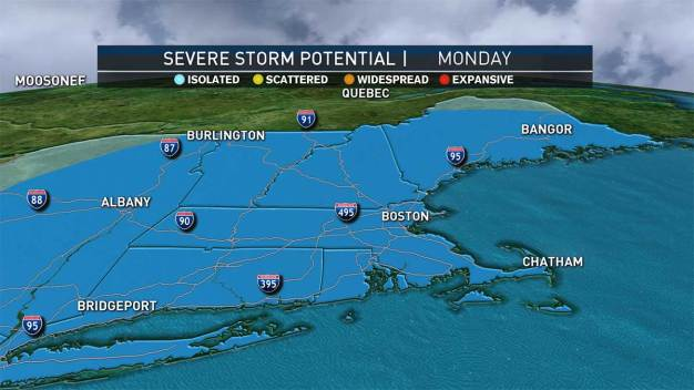 Rain Tonight, Possible Severe Weather Monday