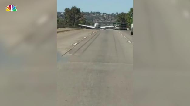 Couple Captures Incredible Landing of Plane on SoCal Freeway