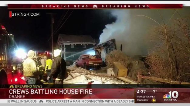 Firefighters Battle House Fire in Orange