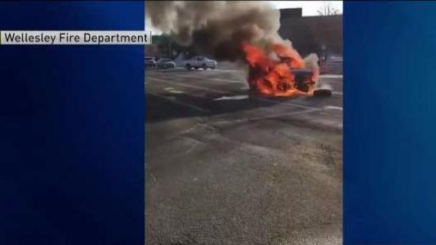Flames Tear Through Car After Crash on Route 9 in Wellesley