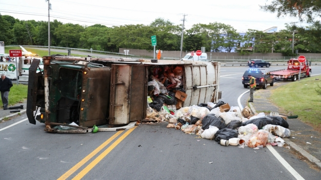 Trash Truck Rollover Causes Delays on Route 1 in Saugus