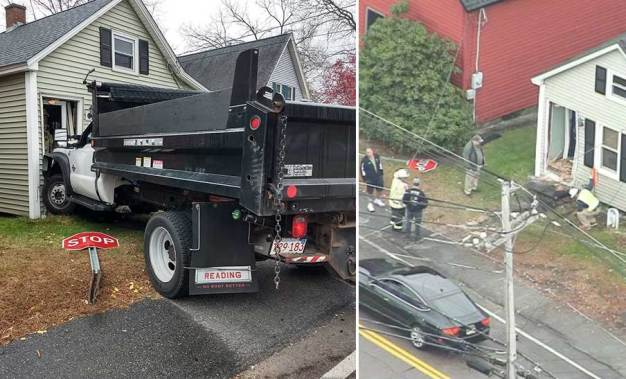 Truck Crashes Into Millbury Home, Shearing Gas Meter Line