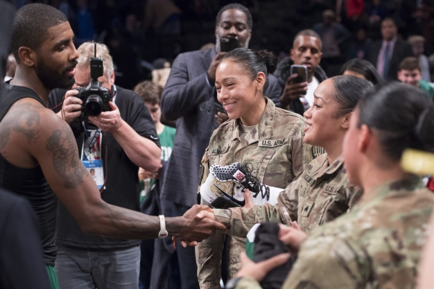 Irving Delivers Big Assist to Military Members Following Win