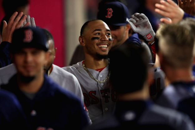 Betts Hits 3 HR, Red Sox Oust Ohtani Early in 10-1 Win