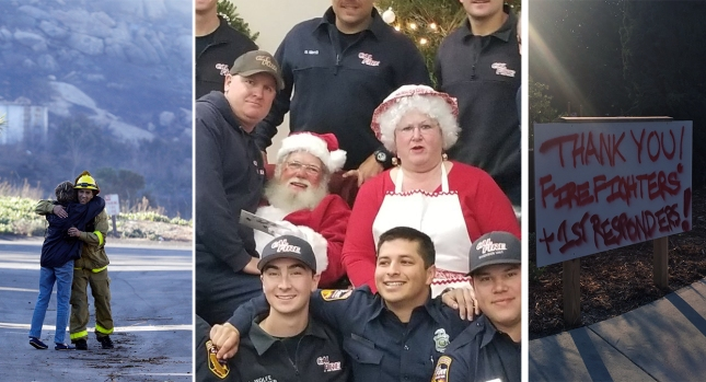[NATL-LA Gallery] 'Thank You, Firefighters': Signs of Gratitude During the Holidays