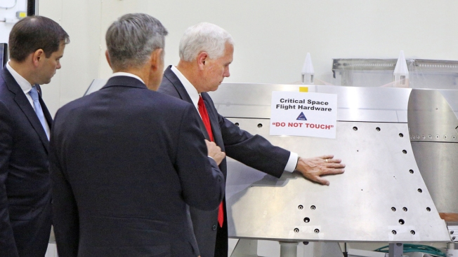 VP Pence Touches NASA Equipment Marked With 'Do Not Touch' Sign