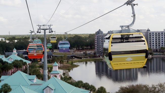 Park-goers Stuck On Disney World's New Aerial Cable Cars