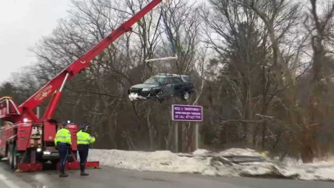 Trooper injured in crash that sent cruiser over guardrail on Mass. Pike