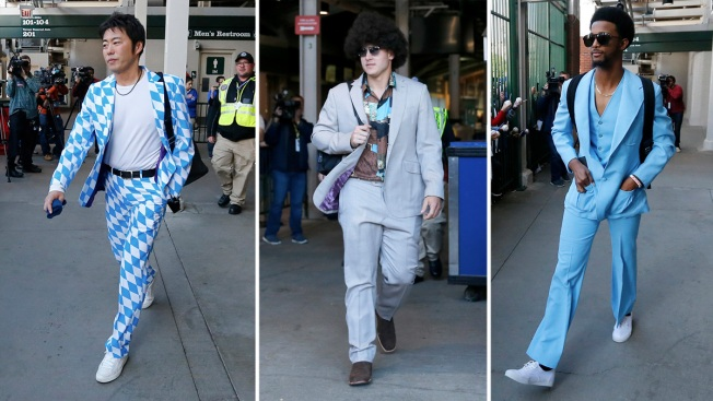 Cubs show off their 'Anchorman' style before their West Coast road trip