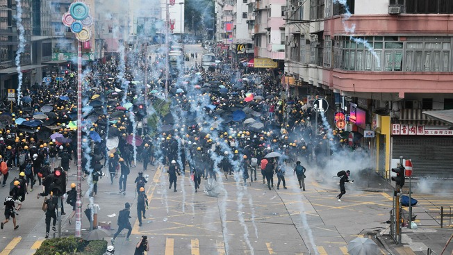 Tear Gas Fired in Hong Kong With No End in Sight to Protests