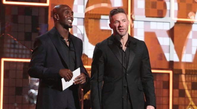 Edelman, Devin McCourty Present Award to Lady Gaga at Grammys